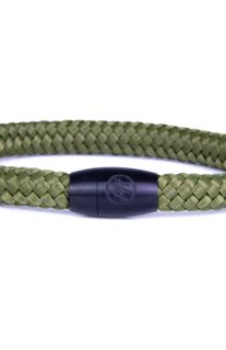 Army Green Steel & Rope Bracelet